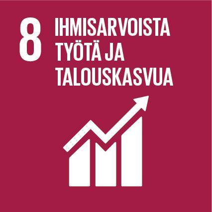 Kestävän kehityksen tavoite 8 logo: Ihmisarvoista työtä ja talouskasvua