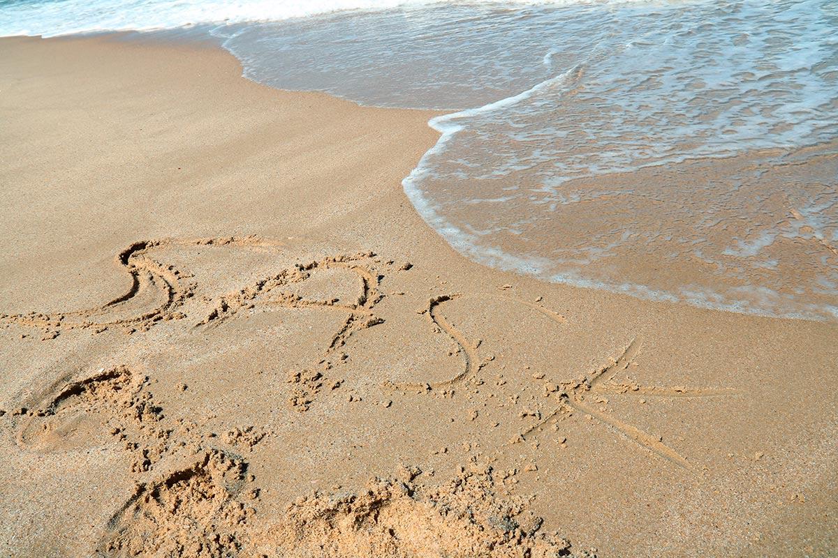 SASK tekstinä hiekassa