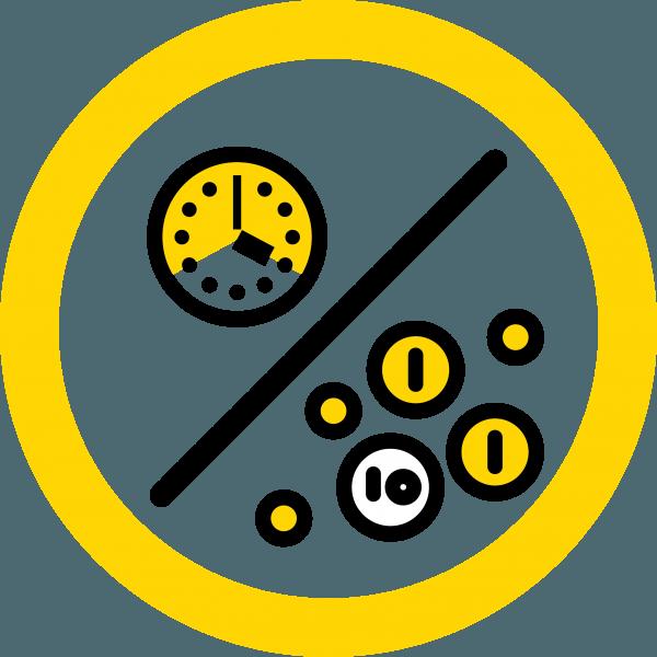Piirroskuva, jossa kello ja kolikoita